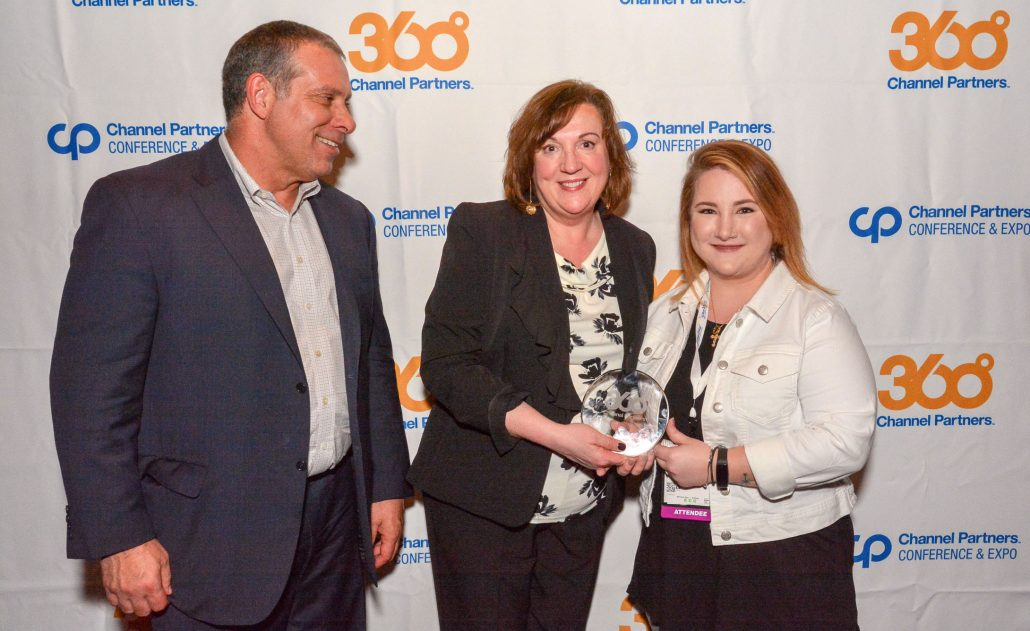 Michelle Denio, Technical Support Supervisor at Bryley Systems, accepting the Channel Partners 360 Award in Las Vegas
