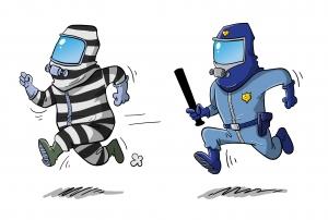 Masked cop, masked baddy